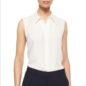 theory ivory white silk button-up NWOT